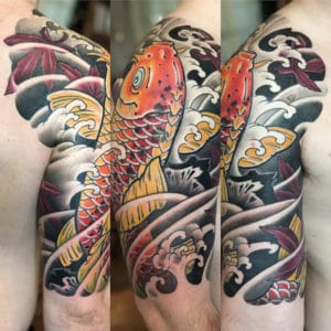 Japanese Tattoos NYC. Japanese Tattoos Artist NYC. Koi Half Sleeve