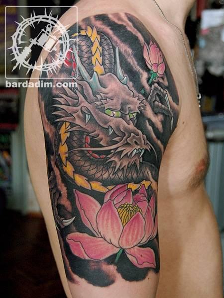 Dragon and lotus Japanese tattoo