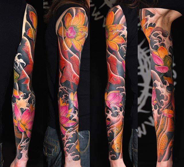 GoldFish and Lotus Japanese sleeve